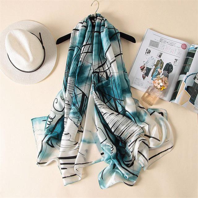 Women Silk Scarf Beach Shawl And Luxurious Wrap Scarves Beach Stole Bandanna