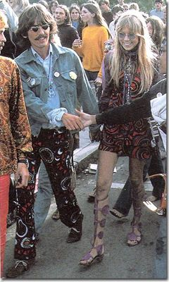 George Harrison with his wife, Pattie Boyd, at Haight-Ashbury in San Francisco, 1967.  Note Pattie Boyd wearing the sandals that are similar to the Ferragamo ones from this year's runway.