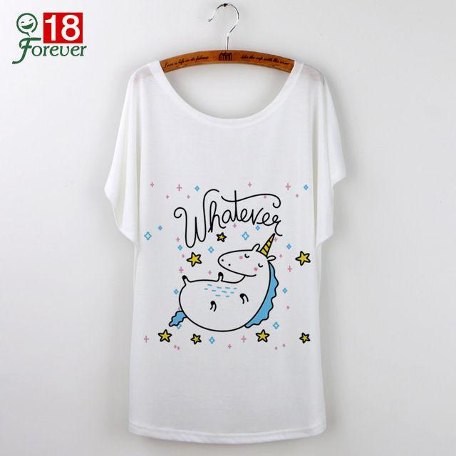 2016 Brand New Sottile T-Shirt Donna Manica Corta T-Shirt O-Collo Causale allentato Carino Unicorno Maglietta Parti Superiori di Estate Per Le Donne Bianco Tee