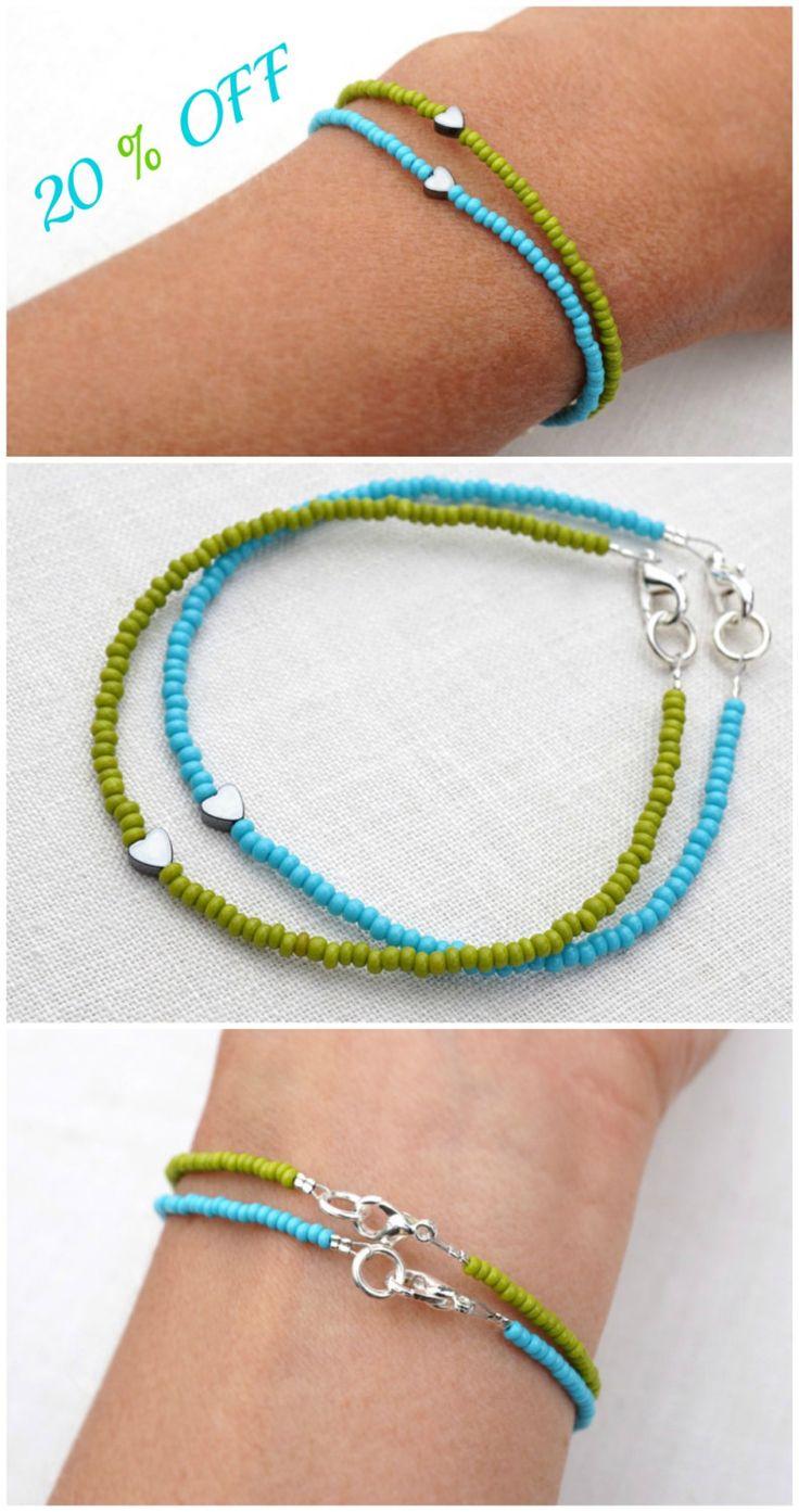 20% SALE Tiny Bracelet Minimal Bracelet Stacking Bracelet Petite Heart Bracelet Thin Bracelet Blue or Green Bracelet Friendship Bracelet (18.40 USD) by KapKaDesign