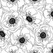 White Anemones fabric by pattysloniger for sale on Spoonflower - custom fabric, wallpaper and wall decals