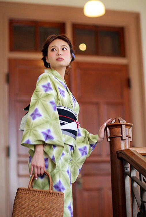 有松絞り 抹茶と葡萄色の菱 by utatane Yukata