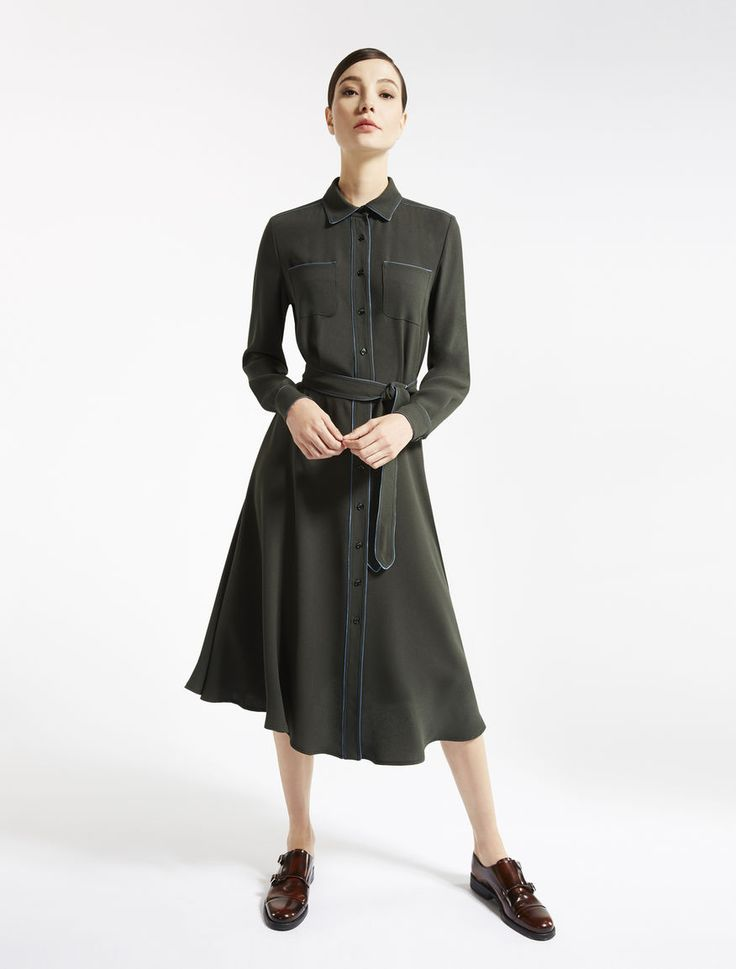 Weekend Max Mara ANEMONE olive green: Viscose sablé dress Product page