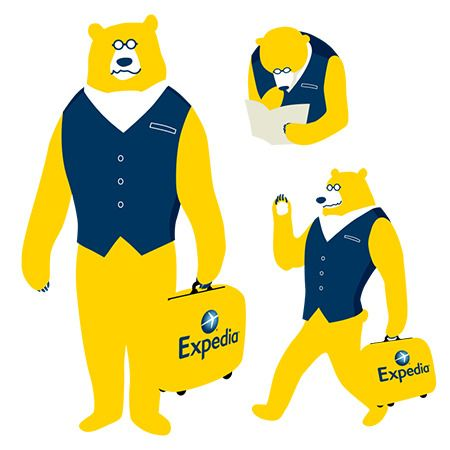 Slope_designさんの提案 - 世界最大のオンライン旅行予約サイト「エクスペディア」 クマのイラストキャラクターデザイン | クラウドソーシング「ランサーズ」