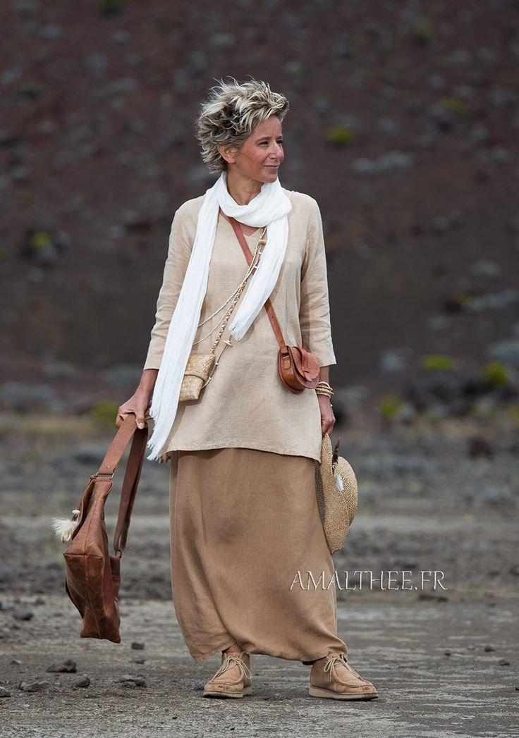 flax linen golden beige Tunic with sleeves and havana sarouel skirt