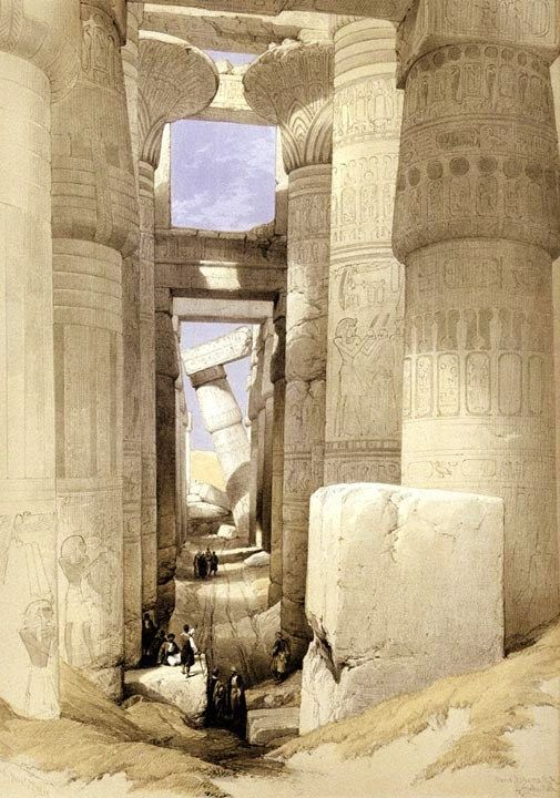 'View looking across the Hall of Columns, Karnac' Lithograph by David Roberts, R.A. - From Eygpt and Nubia - 1842