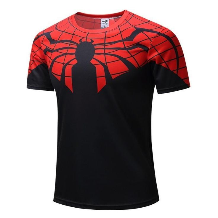 COOL Mens Super Hero series Spiderman Logo Quick-dry T-shirt