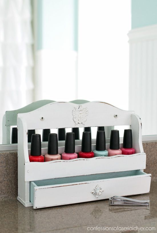Old spice racks are perfect for storing nail polish!-after- confessions of a serial DIY-er.