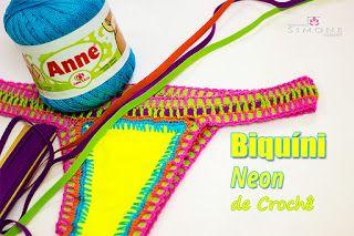Ateliê do Barbante: Biquíni Neon de Crochê - passo a passo - Professor...