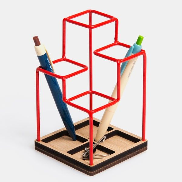 Block Sketch Desk Tidy - Red - Keep your desk organised, and do it in style with the Block Sketch Desk Tidy in Red!