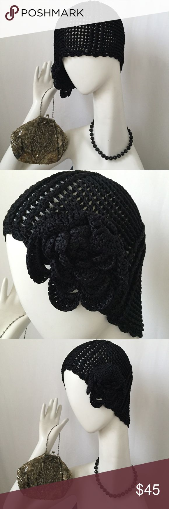 Ragtime Style Black Skull Cap w/Large Flower EUC Ragtime Style Black Skull Cap w/Large Flower ▪crochet style ▪️️there are no tags & the material has a very silky slinky feel to it-it is not standard yarn▪️purchased in England ️ can be worn various ways FIRM Accessories Hats