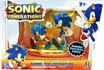 Name: Sonic Generations Statue Set Manufacturer: Jazwares Toys Series: Sonic Generations Release Date: February 2012 For ages: 4 and up Details (Description): Sonic the Hedgehog fans old and new will love this Sonic Generations Statue 2-pack. This Sonic the Hedgehog commemorative statue features a Sega Genesis classic Sonic and modern Sonic side by side as they make a quick dash atop a golden ring display base. This statue 2-pack also includes exclusive game codes for the Sonic Generations…