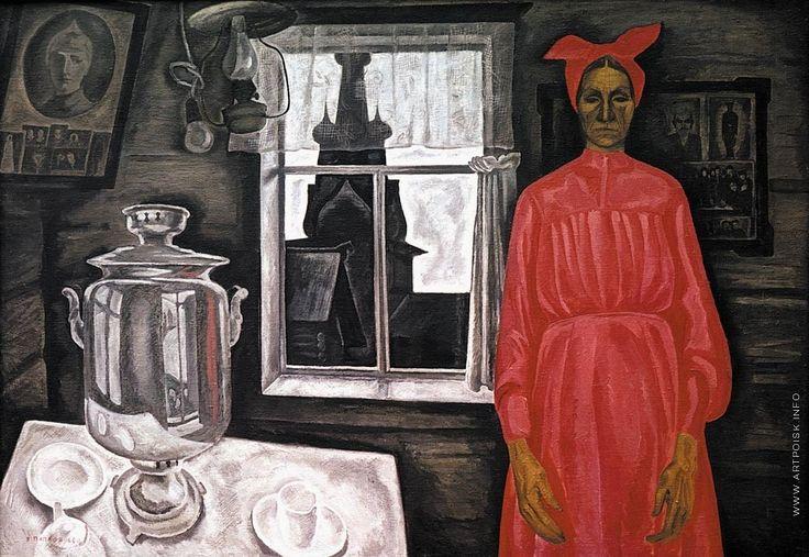 Viktor Efimovich Popkov, Alone, Oil on Cardboard, The Institute of Russian Realist Art in Moscow Одна (Alone)