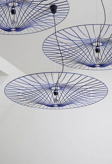 Steel pendant #lamp LES OMBRELLES by La Corbeille Editions   #design Jocelyn Deris #blue