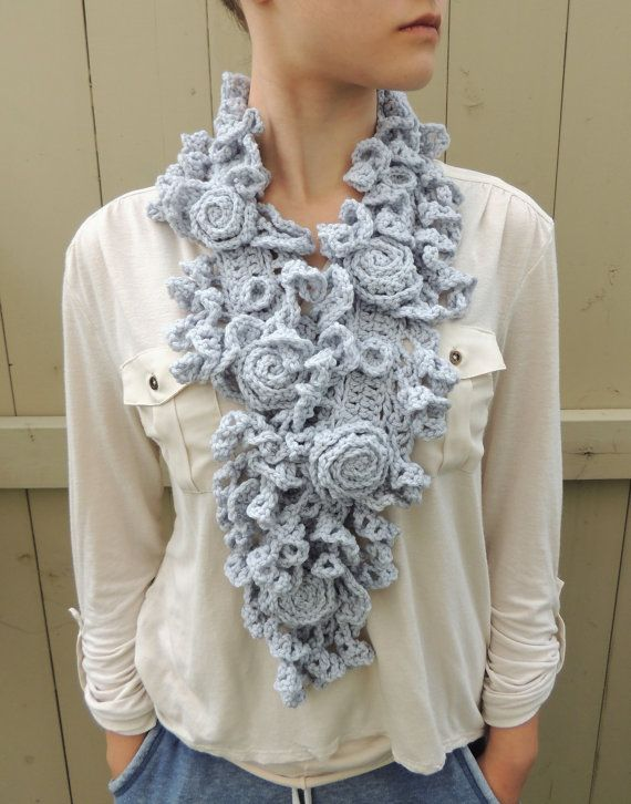 RoseOnie Scarf, Silver Grey Crochet Scarf. Rose Lace, Medium & Long Lengths available, Merino Wool, Ivory Rose Scarf, Sculptured Lace Scarf