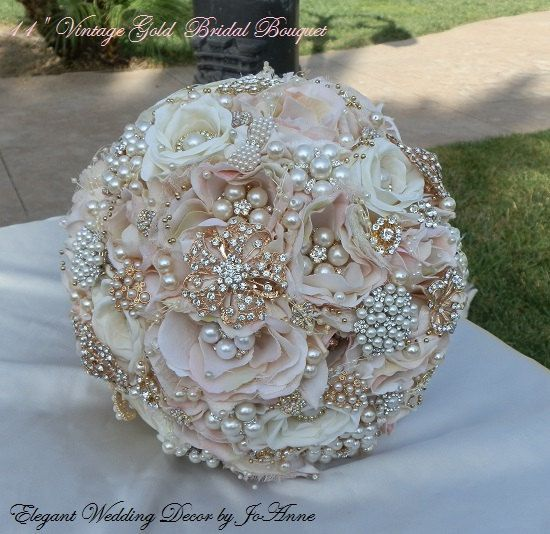 VINTAGE GOLD Bridal Bouquet Beautiful by Elegantweddingdecor, $365.00
