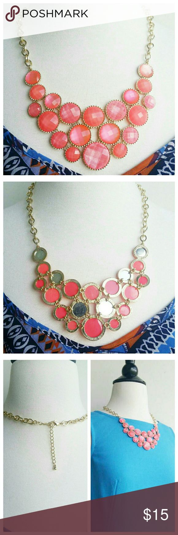 """Adjustable golden bubble coral necklace Currently in 3 bundles but still available! Just listed yesterday!  Golden hardware, adjustable chain (16""""-20"""")  It is a beautiful coral color that shimmers.  Like new. Jewelry Necklaces"""