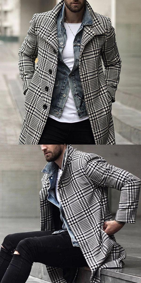Fashion Plaid Lapel Single-Breasted Mid-Length Coat