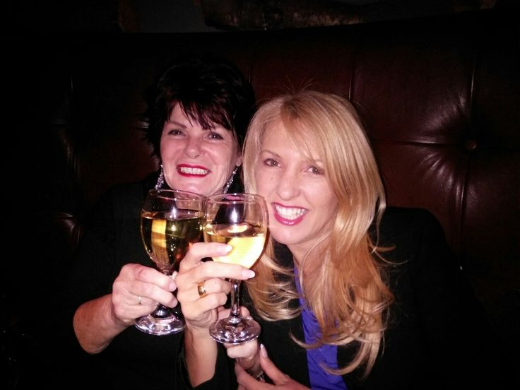 Dawn Cragg & Karen Betts enjoying a night out together.  Both are international trainers in permanent make-up.