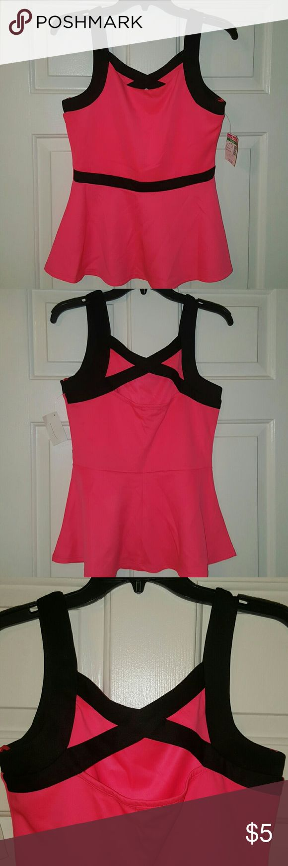 Hot pink peplum top *Brand new with tags!* (A little wrinkled from storage) semi-stretchy material. non-smoker. Please take this out of my closet! Tops Tank Tops