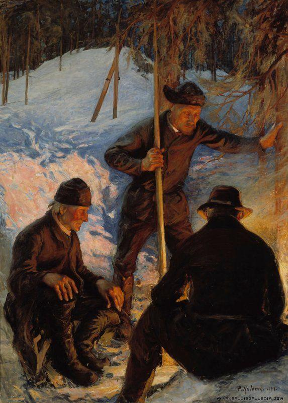Pekka Halonen (1865-1933) Tukkinuotiolla / Lumberjacks around a Campfire 1893 - Finland