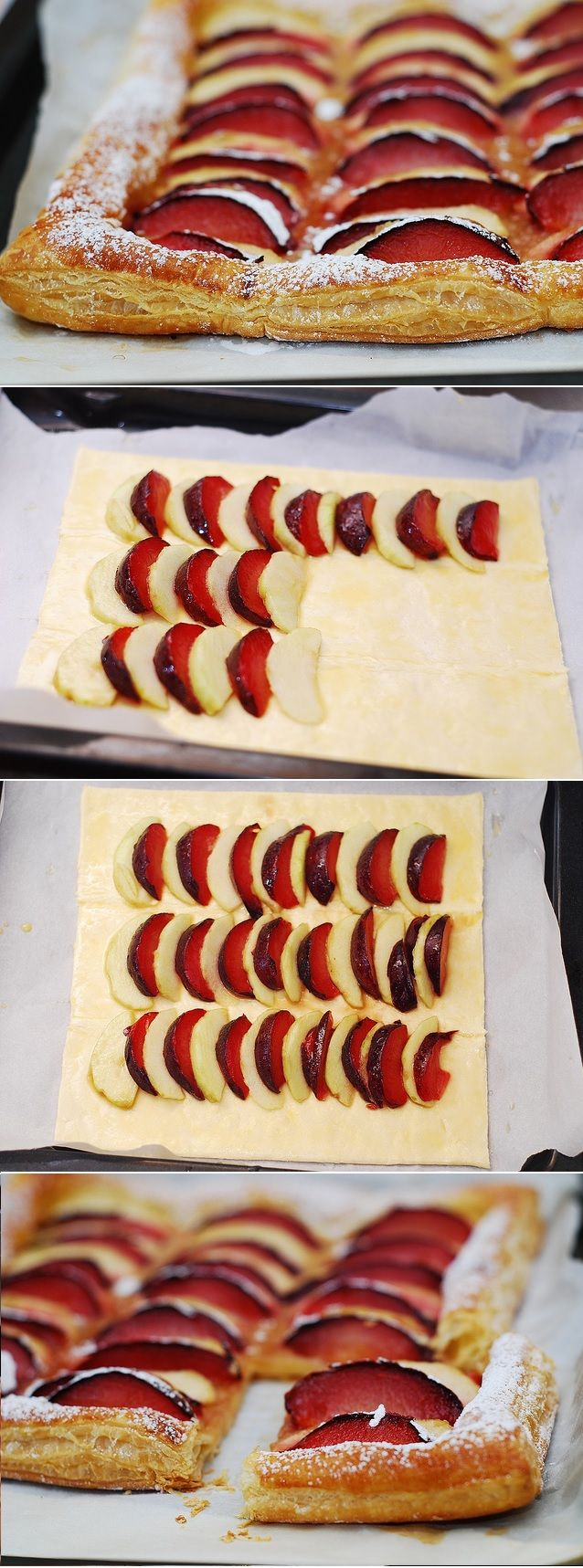 Plum and apple tart on puff pastry.  Easy to make, and very light! With lots of apples!   JuliasAlbum.com   #Fall