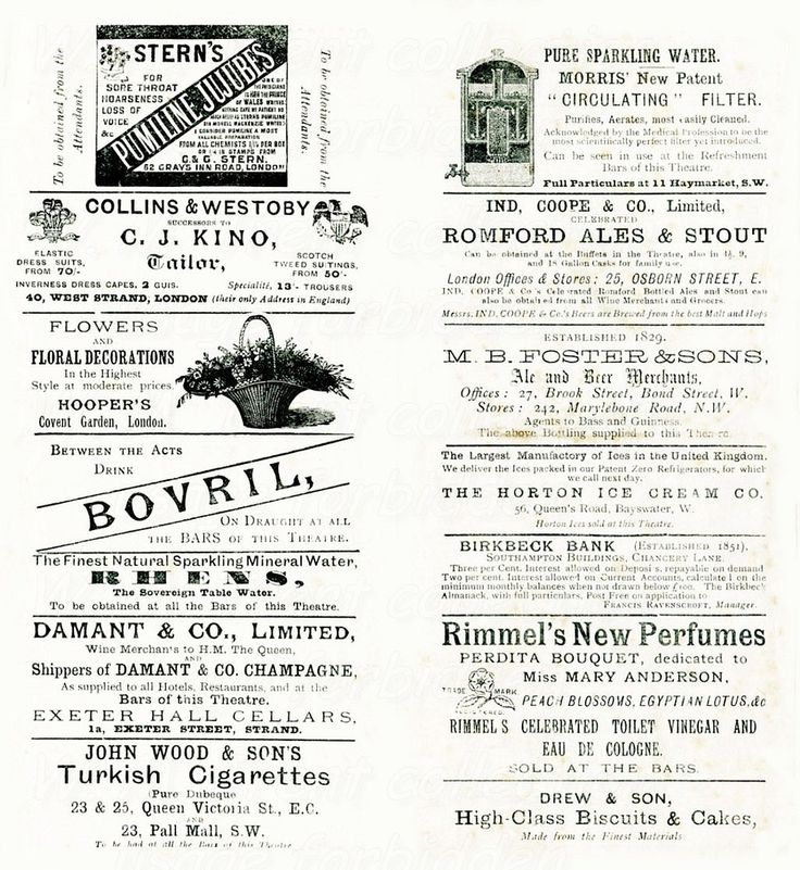 From London Jan 1890 ~ a page of advertisements including -  Bovril Romford ales & stout Rimmel perfume John Wood Turkish cigarettes