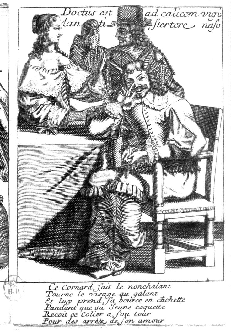 """nose-tap -- here as demonstrated by Laigniet's 'Contented Cuckold' from his """"Recueil des Proverbes"""" c.1660"""