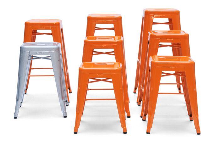 Tabourets H de Tolix...en orange !!