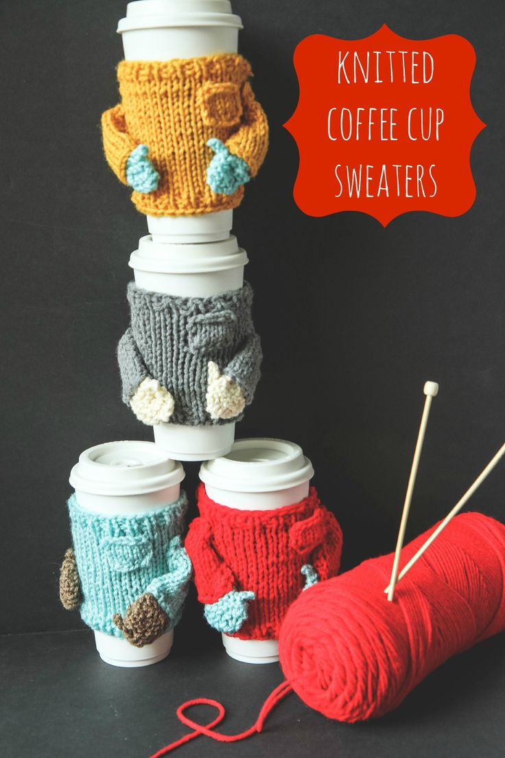 Knitted Sweater Coffee Cozies from MomAdvice.com.  Pattern available from Ravelry for $1.99