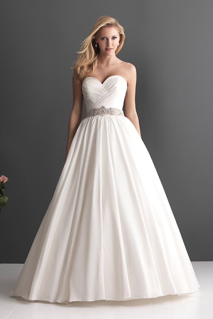 Formal Modern White $$ - $701 to $1500 Allure Romance Ball Gown Ballroom Beading Floor Historic Site Modern Space Natural Ruching Sash/Belt Strapless Sweetheart Taffeta Wedding Dresses Photos & Pictures - WeddingWire.com