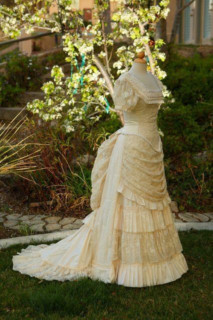 silk & cotton net lace wedding bustle dress by bustlelady, via Flickr