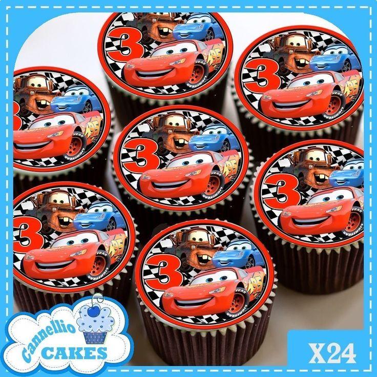 3RD BIRTHDAY DISNEY CARS RED  24 x CUPCAKES EDIBLE PREMIUM RICE PAPER CC0177
