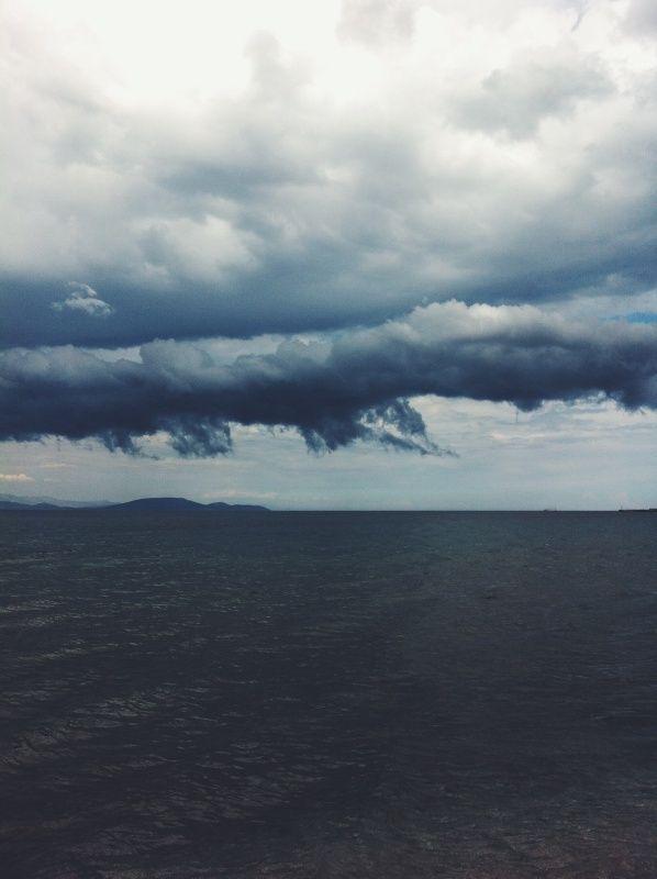 One more swim #swim #sea #clouds #greece