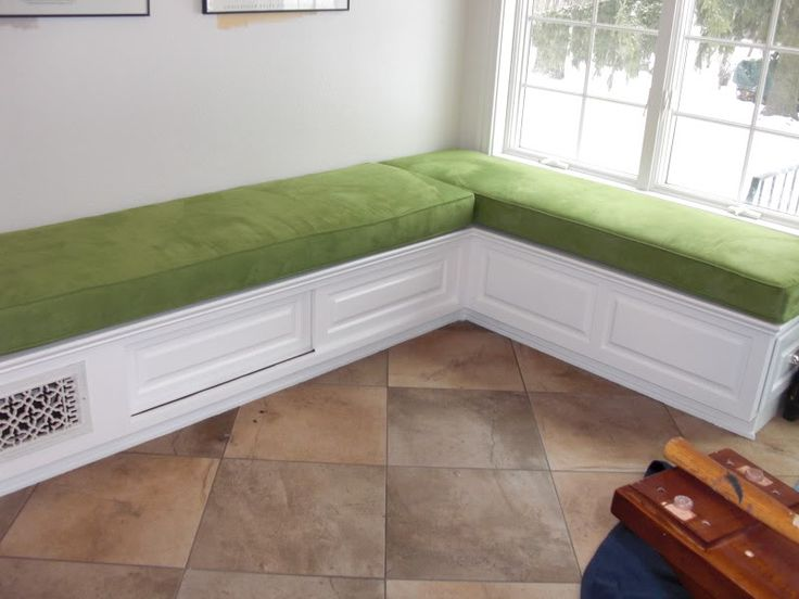 Build your own banquette storage bench woodworking projects plans - Building a kitchen banquette ...