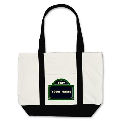 Paris Street Sign Edit Your Name Added Canvas Bag