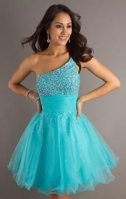 Color: Blue Fabric: Organza Silhouette: A-line Neckline: One-shoulder Sleeve: Sleeveless Waist: Natural Length: Short/Mini Embellishment: Beaded Fully lined: Yes Back details: Zipper Made-To-Order: Yes