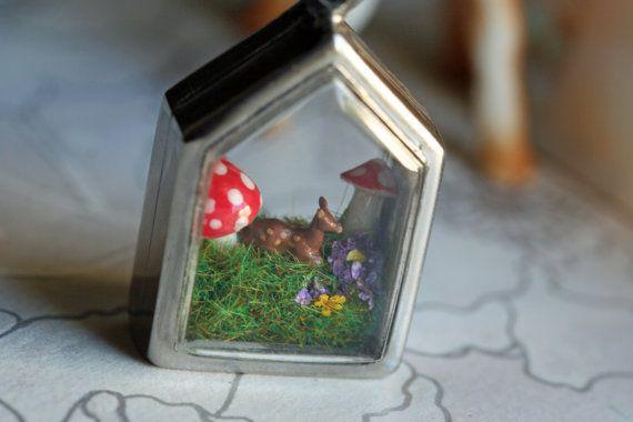 Terrarium diorama necklace pendant miniature by FrankieFujiForever, $34.95