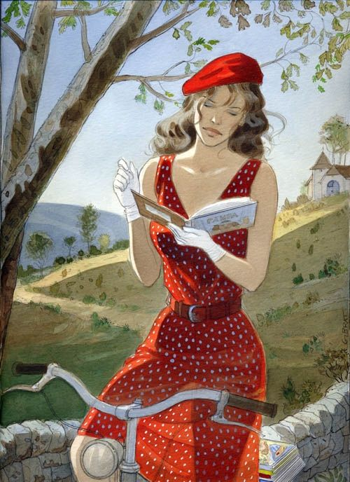 JEANNE - Cajarc 2003 Festival Poster  by Jean-PierreGibrat (Comic Book Artist. Paris, France). Beautiful Woman, Red Dress, Beret, Bicycle, Reading, Book, Lovely Countryside.