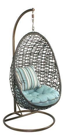 Woven half-egg hanging chair // Heck yes! #furniture_design https://emfurn.com/collections/vintage-chic