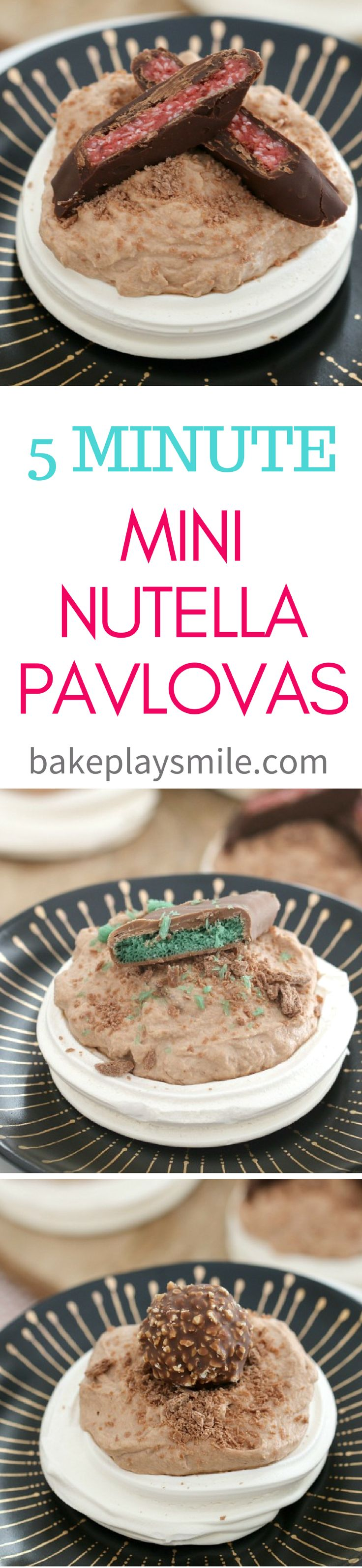Take the stress out of tonights dessert with the easiest 5 Minute Mini Thermomix Nutella Pavlovas! They look so cute… and they taste even better! Mix and match with your favourite chocolate toppings for the ultimate treat.   #nutella #pavlovas #mini #quick #Christmas #5minute #dessert #conventional #thermomix