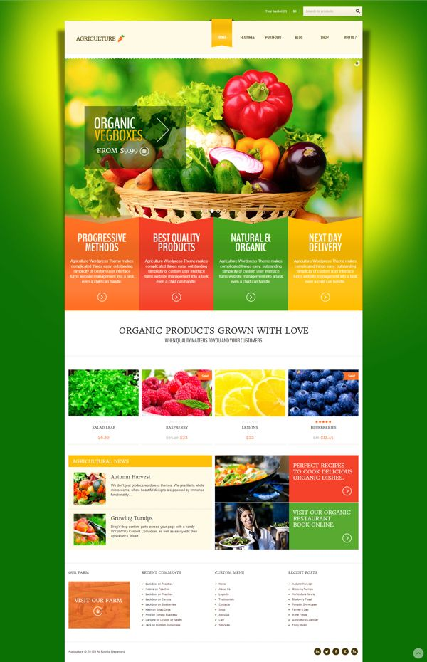 Agriculture - All-in-One WooCommerce WP Theme by Zizaza - design ocean , via Behance