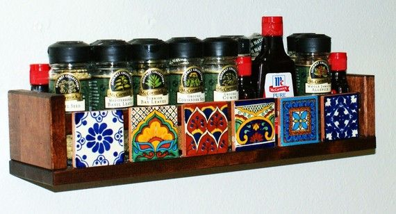 Spice Rack with Mexican Tiles by CootsieTootsies on Etsy
