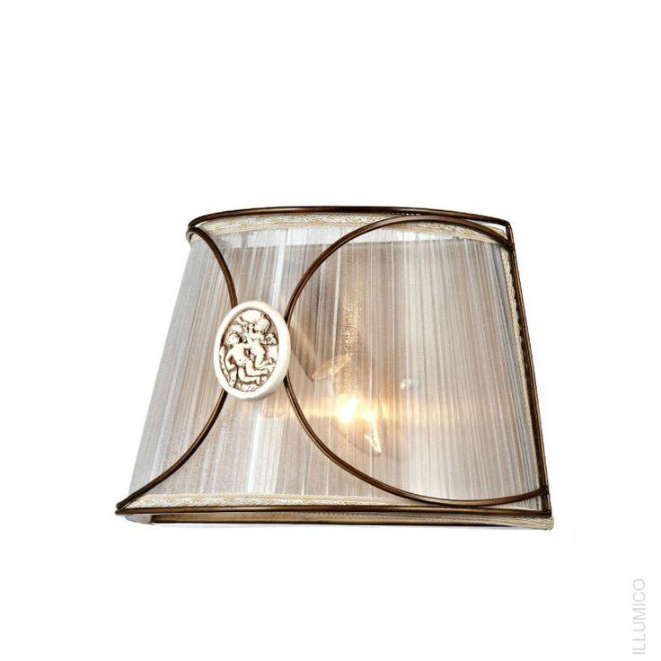 Настенный светильник Illumico Udine с текстильным абажуром. IL8263-1WA-51 AB http://illumico-shop.ru/bra/nastennyy-svetilnik-illumico-udine/