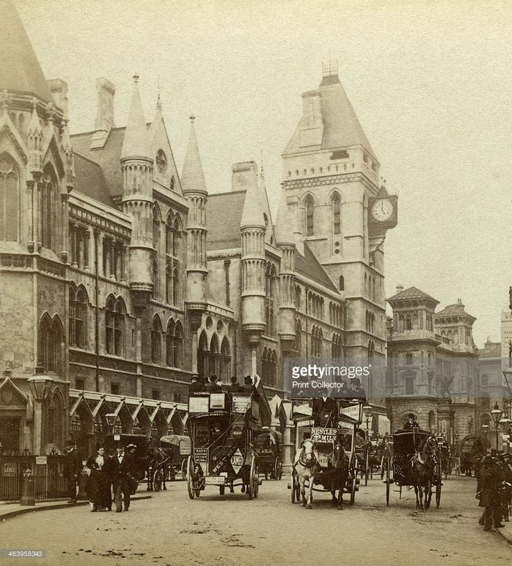 Law Courts, Strand, London, late 19th century. The Royal Courts of Justice were built between 1873 and 1882. The Victorian Gothic style building was designed by George Edmund Street, a solicitor who became an architect. Stereoscopic card detail.