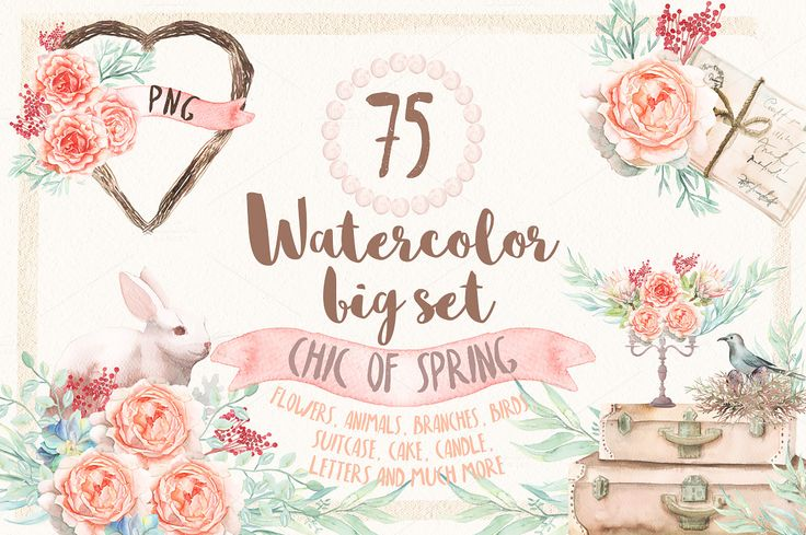 Watercolor Chic of Spring by Spasibenko Art on @creativemarket