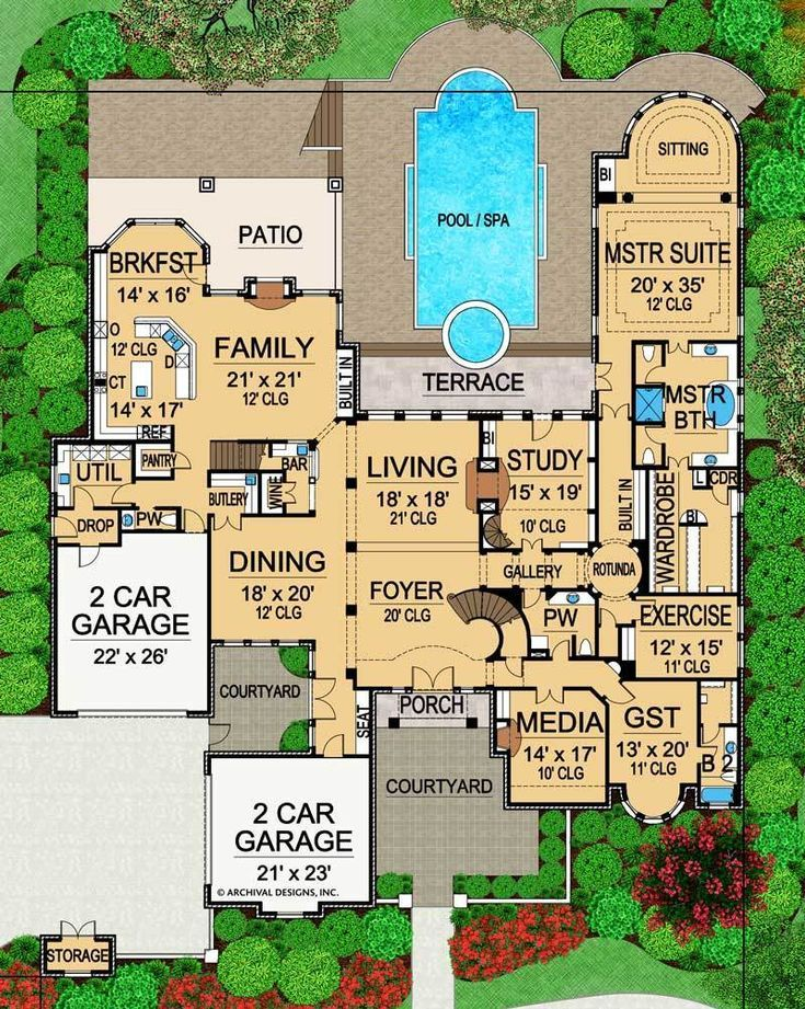 The Interior Of This Mansion Floor Plan Is As Majestic As Its Exterior This Lux Mansion Floor Plan Luxury House Plans Pool House Plans