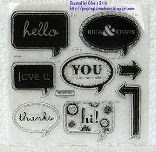 Cricut Artiste Word Balloons - 3rd set of stamps with Collection. http://purpleglocreations.blogspot.com