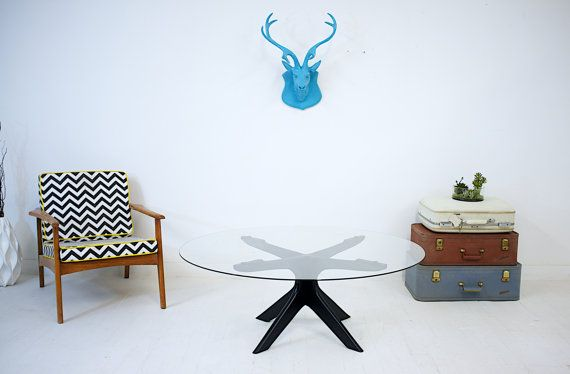 """The Maclain: Midcentury Modern Coffee table, Danish Modern, Glass Tabletop, 48"""", Cocktail Table."""