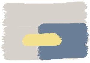 Farbkombination in Grau - Wandfarben in: Pearl - Gelb - Taubenblau - Vorschlag: Wohnzimmer - Schlafzimmer